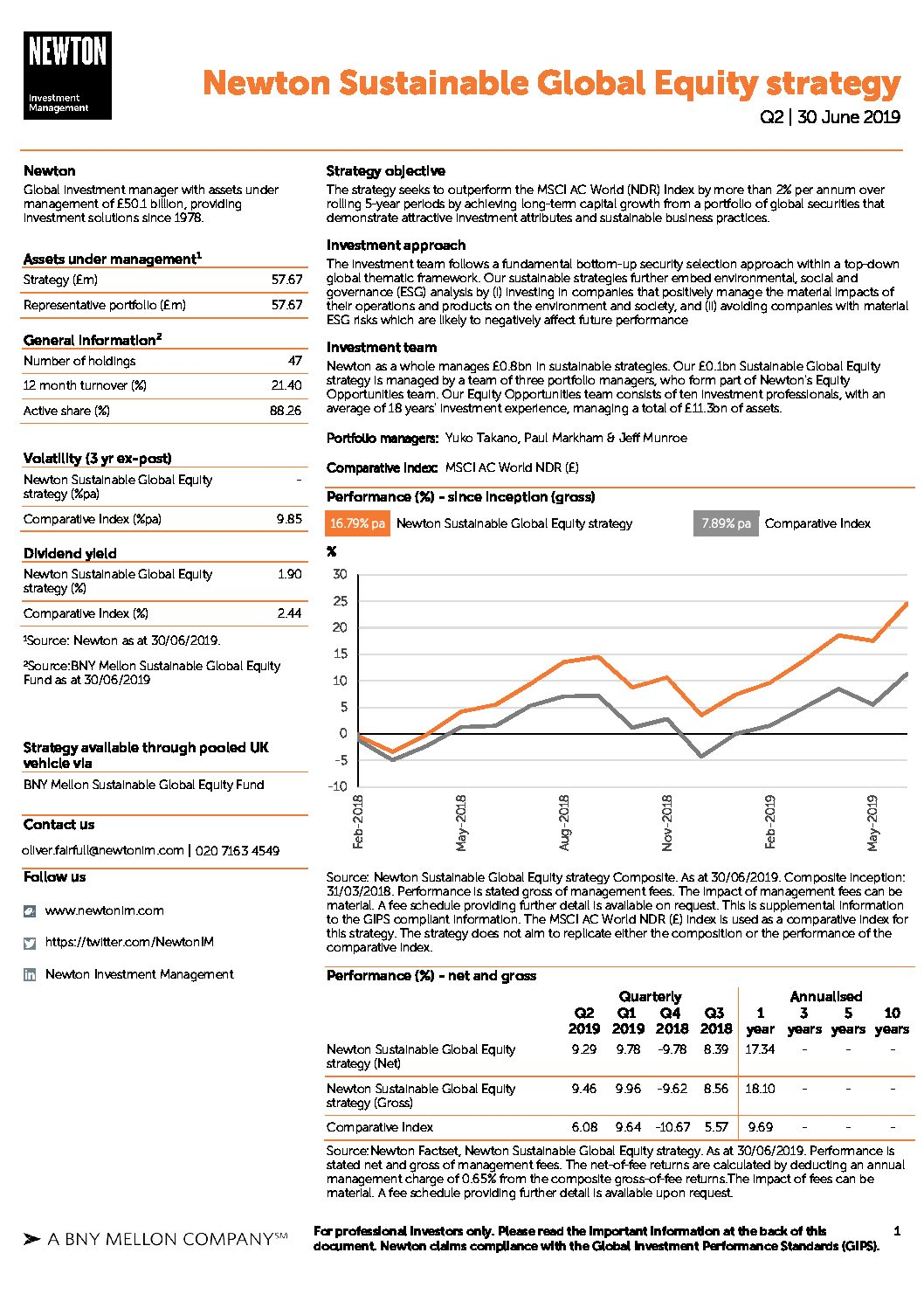 UK Inst Sustainable Global Equity strategy factsheet