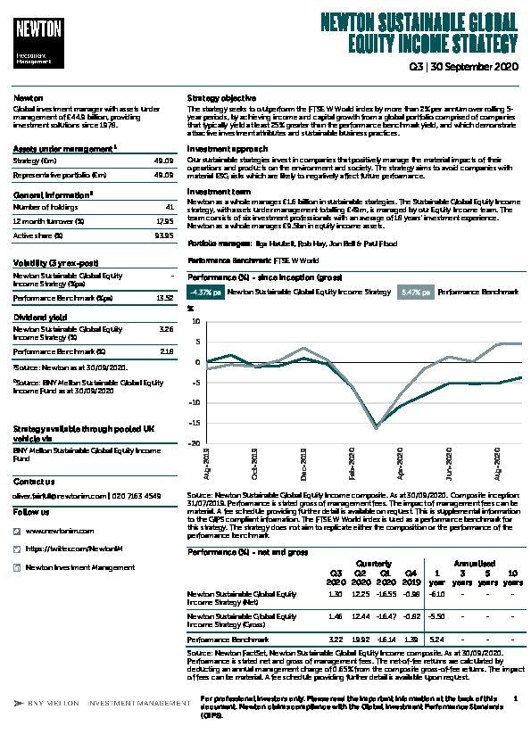 UK Inst Sustainable Global Equity Income strategy factsheet